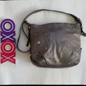 COACH pewter studded applique hobo shoulder bag